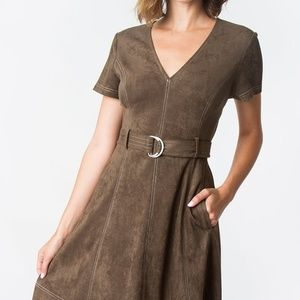 V-NECK Suede Olive Dress